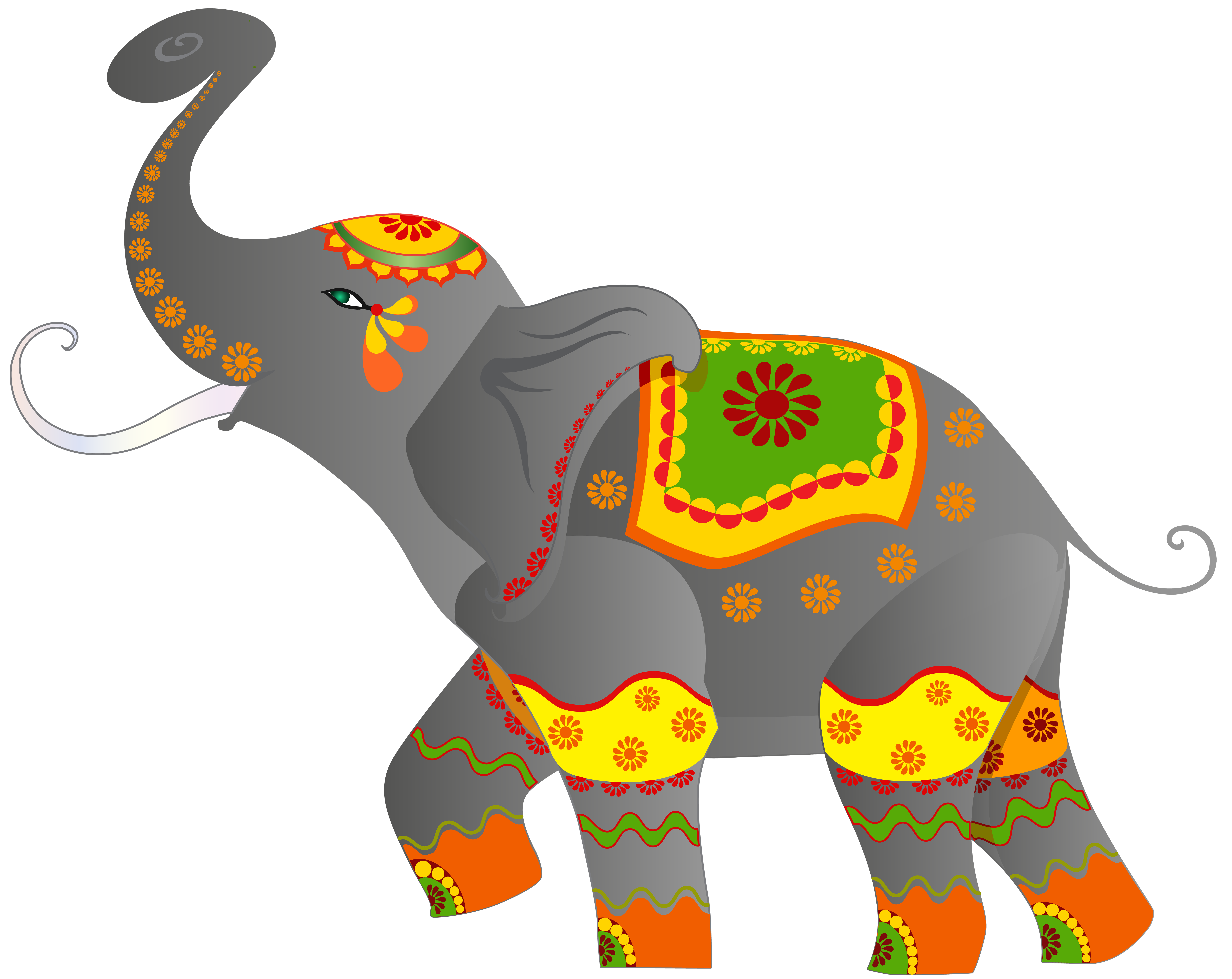 Decorative Indian Elephant PNG Clip Art Image.