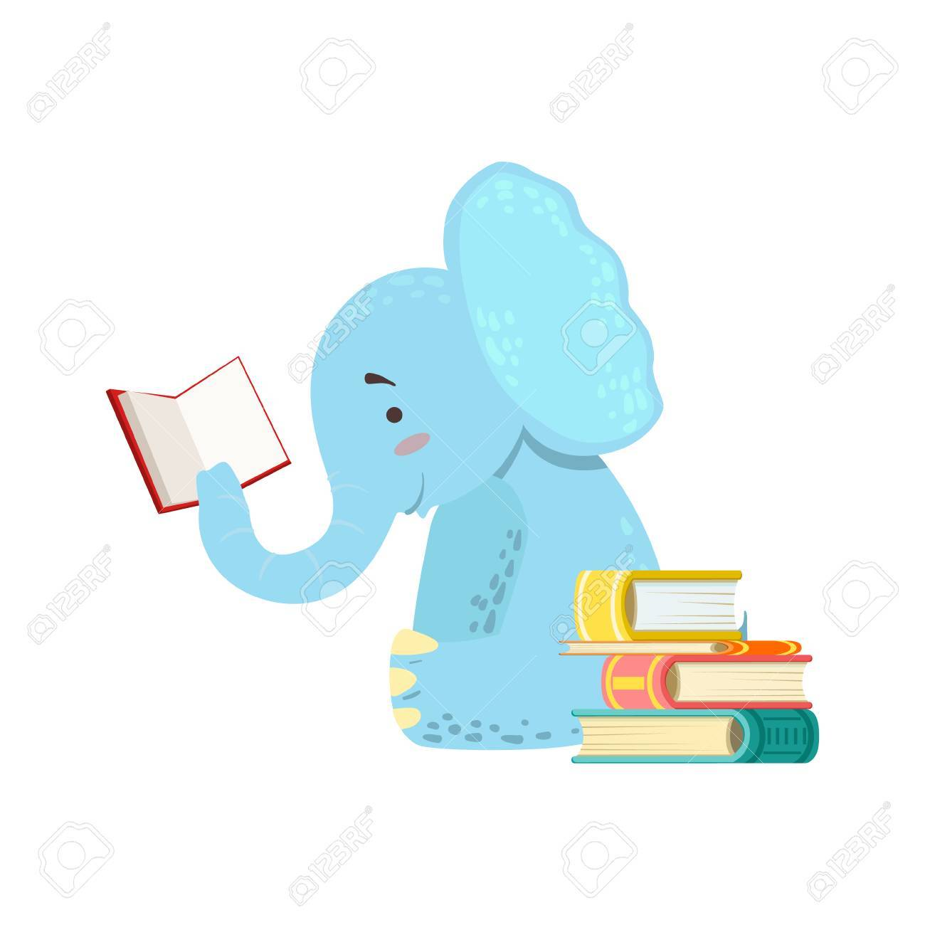 Elephant Smiling Bookworm Zoo Character Reading A Book Cartoon...