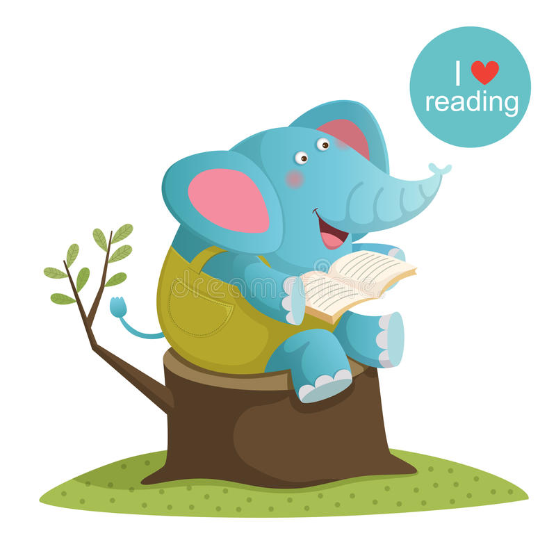 Reading Elephant Stock Illustrations.
