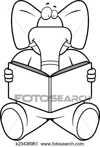 Elephant Reading Clipart.