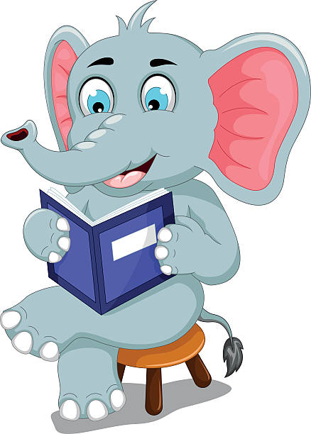 Best Cartoon Elephant Reading A Book Illustrations, Royalty.