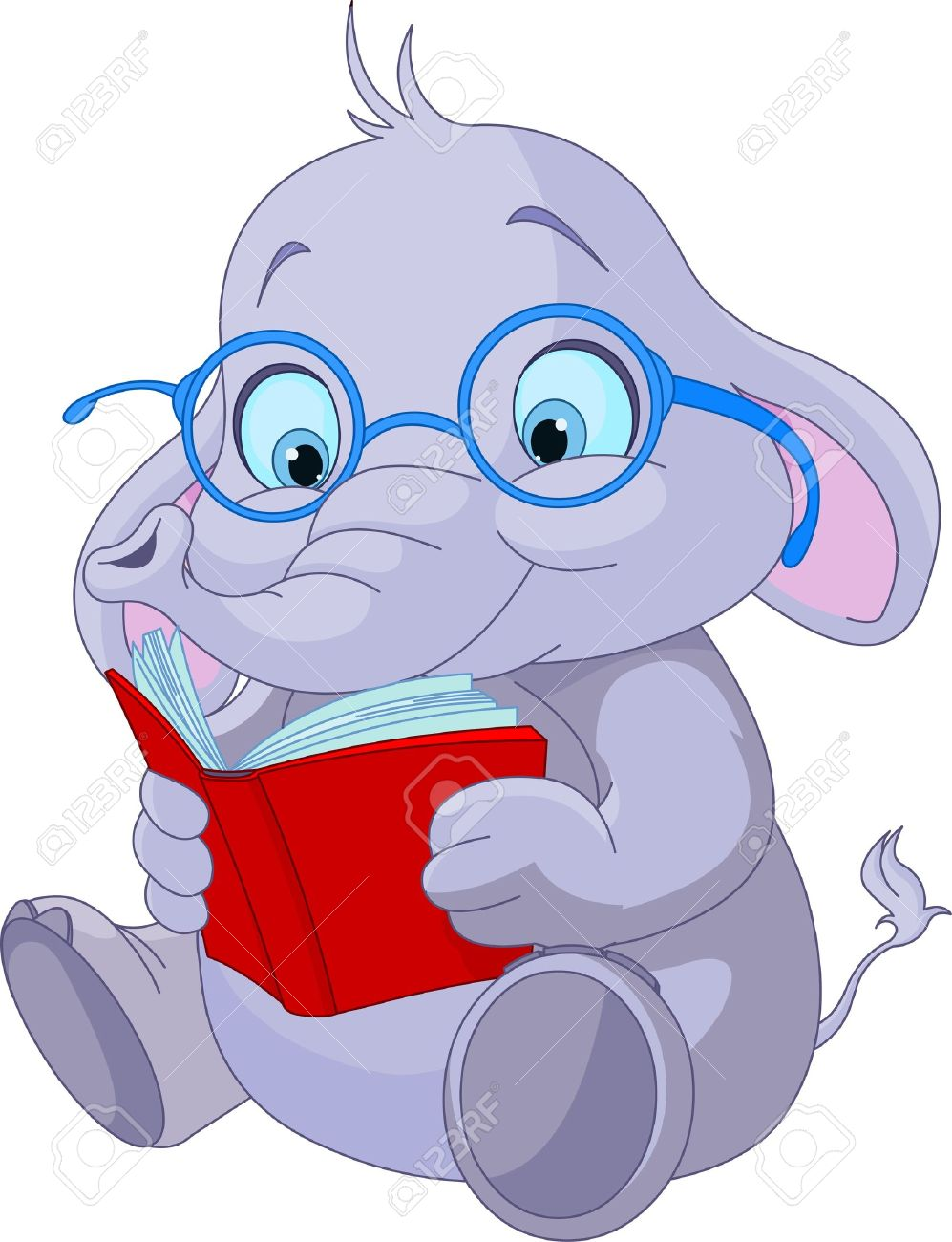 Cute elephant with glasses reading a book.