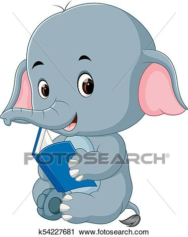 Cute elephant reading a book. Clipart.