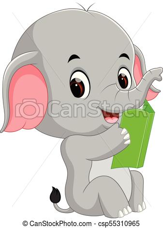 Cute elephant reading a book..