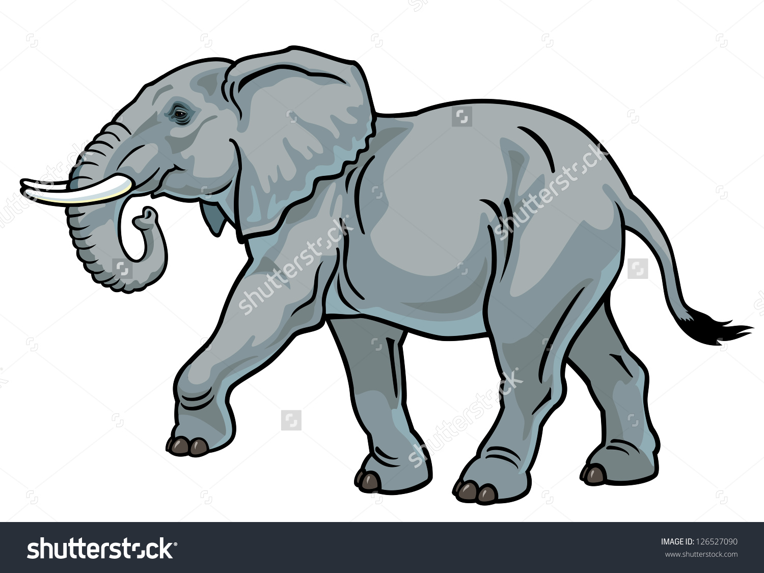 Elephantafrica Animalside View Picture Isolated On Stock Vector.