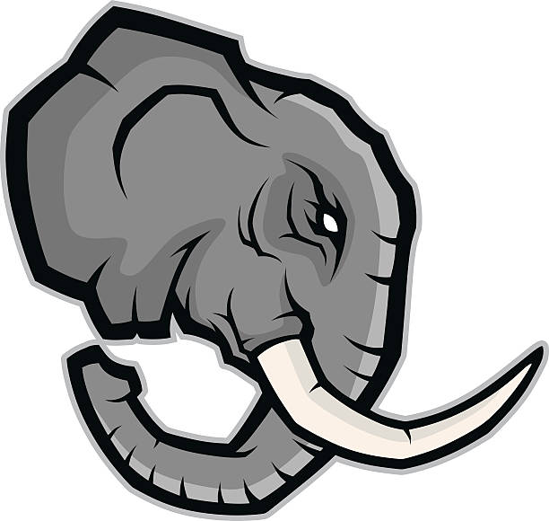 Cartoon Of Side View Elephant Clip Art, Vector Images.
