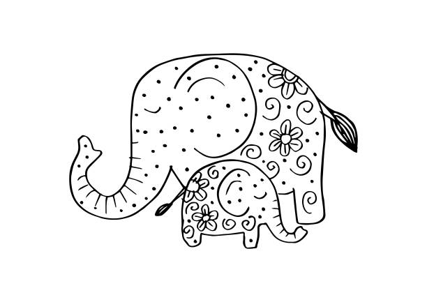 Draw Baby Elephant Silhouette Illustrations, Royalty.