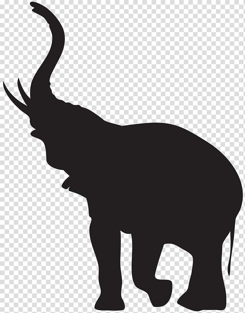 African elephant Silhouette , elephant transparent background PNG.