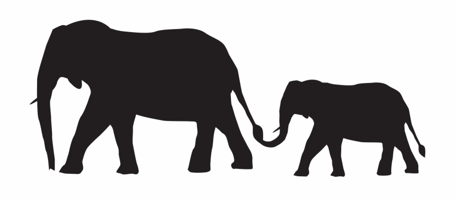 Mother And Baby Elephants Silhouette Png Clip Art Imageu200b.