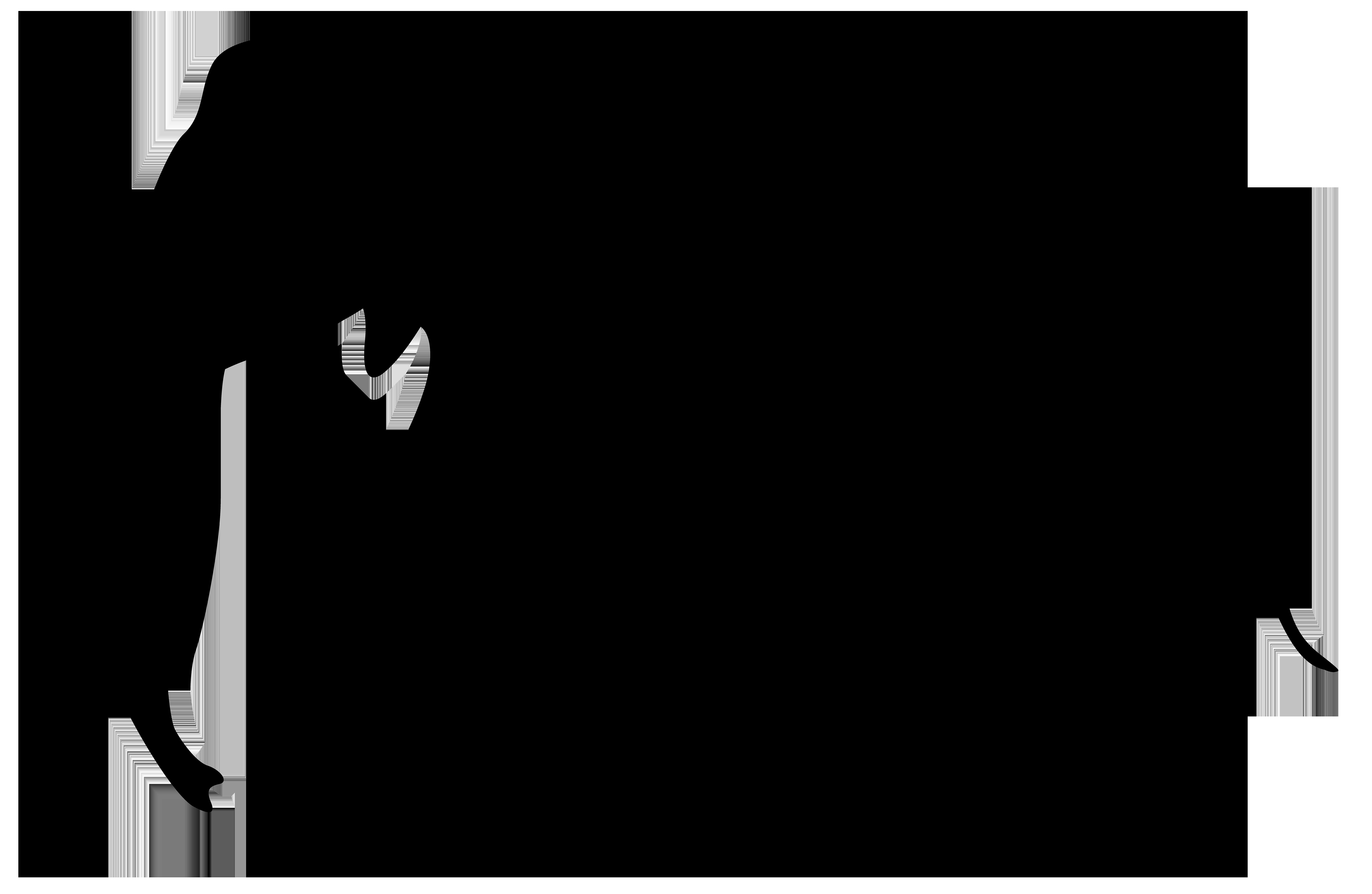 Elephant Silhouette PNG Clip Art Image.