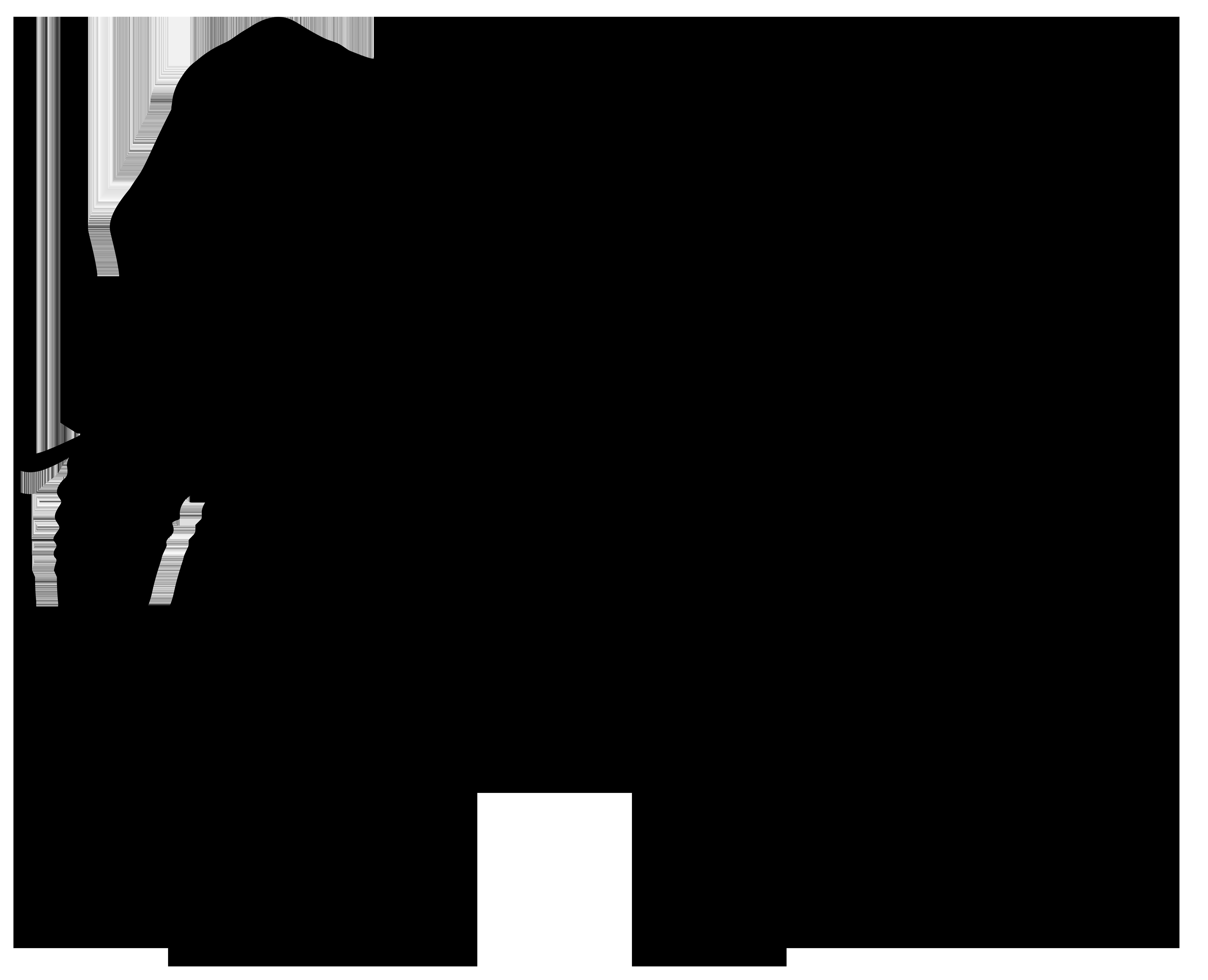 Elephant Silhouette PNG Transparent Clip Art Image.