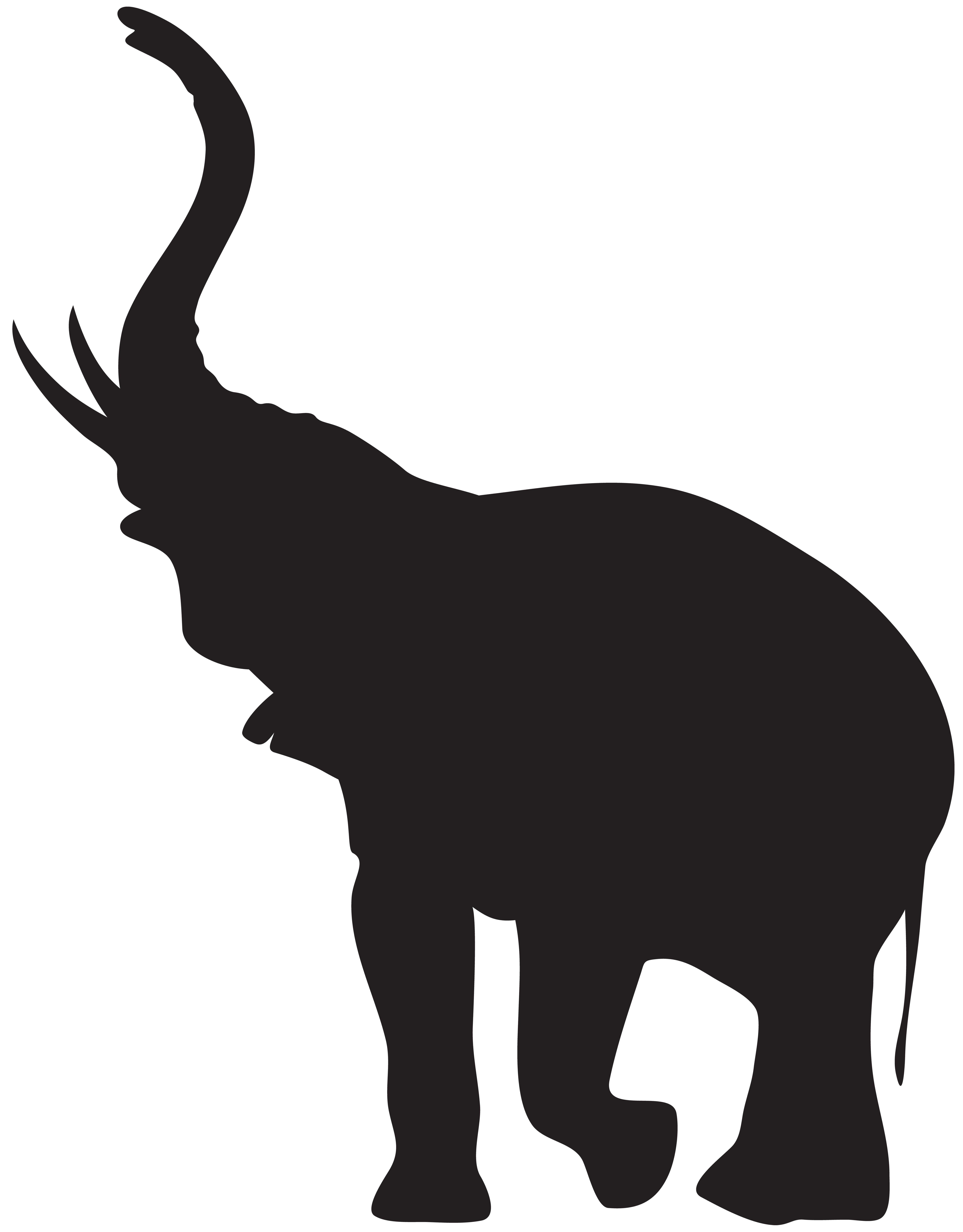 Elephant with Trunk Raised Silhouette PNG Clip Art.