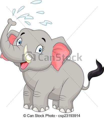 Vector Clip Art of Cartoon elephant spraying water.