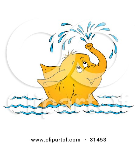 Clipart Illustration of a Cute Elephant Swimming And Showering.