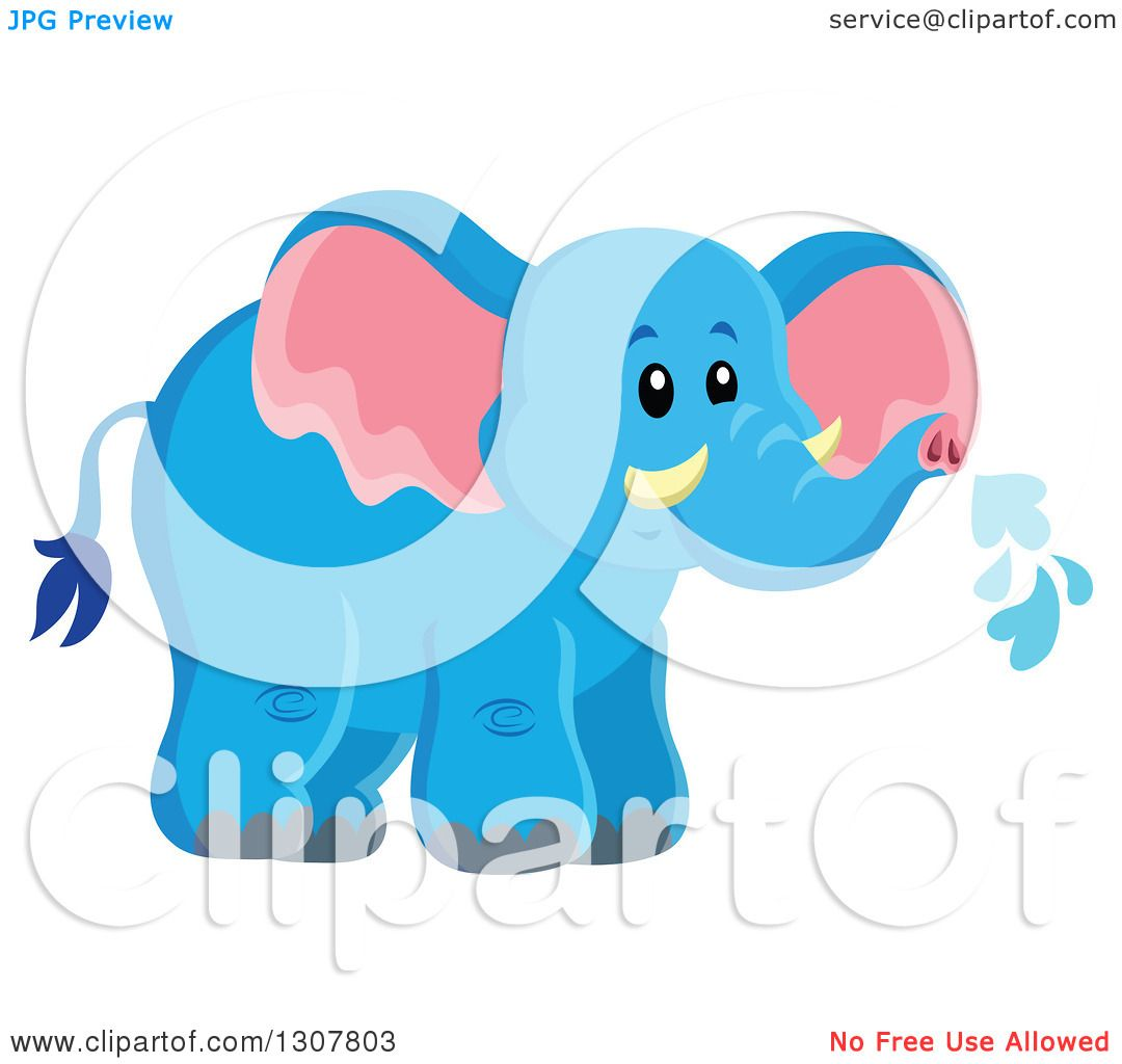 Clipart of a Cute Wild African Blue Elephant Spraying Water.