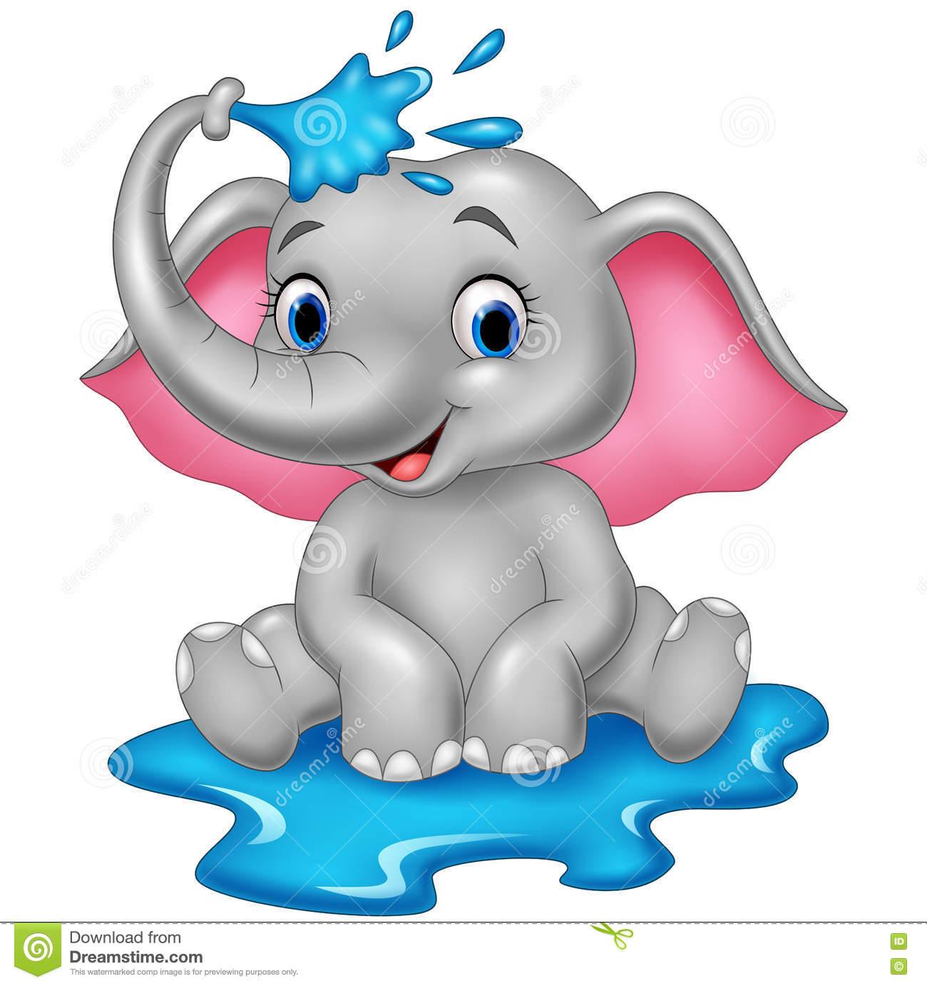 Cartoon Funny Elephant Spraying Water Stock Vector.