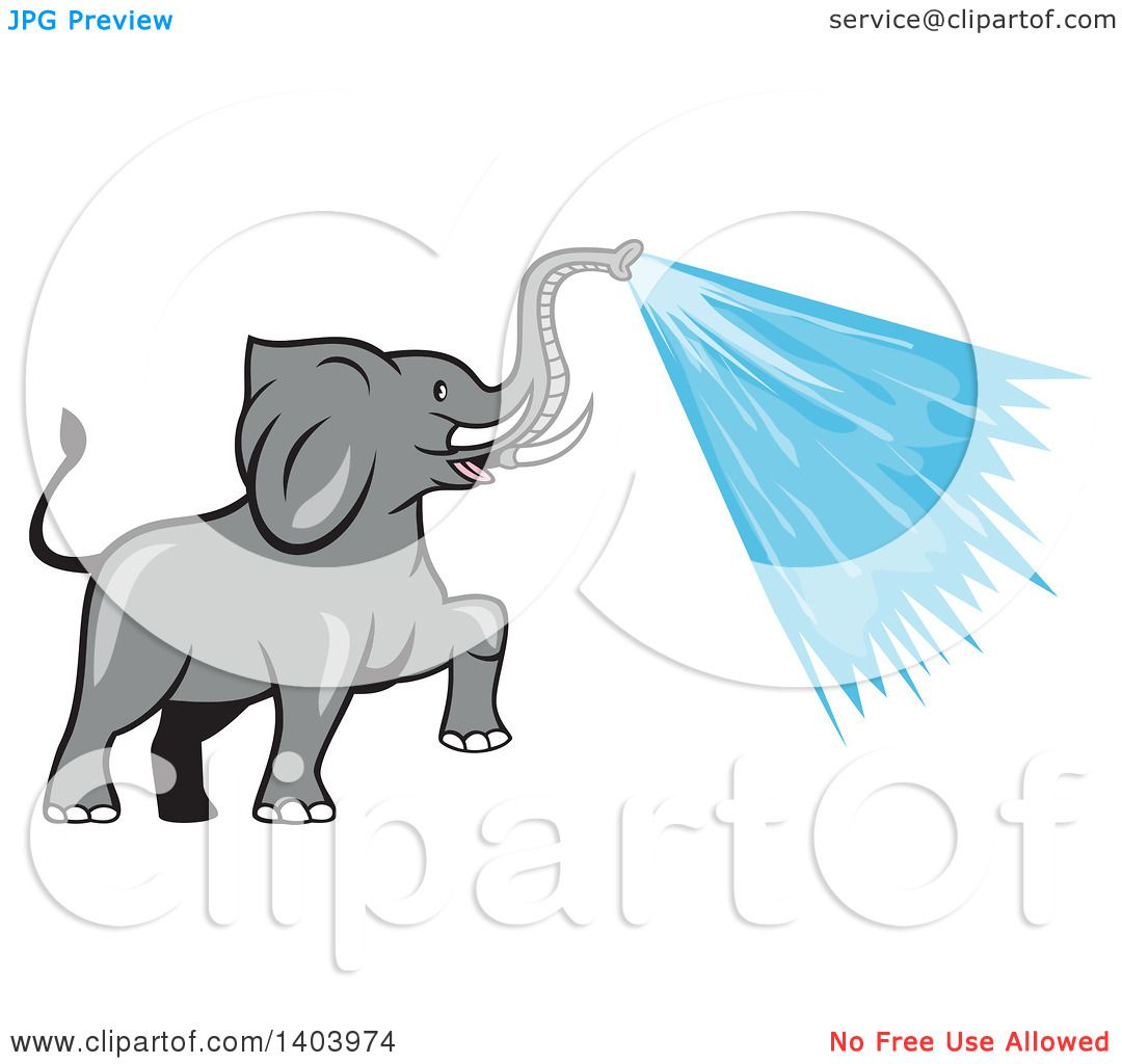 Clipart of a Cartoon Elephant Spraying Water from His Trunk.