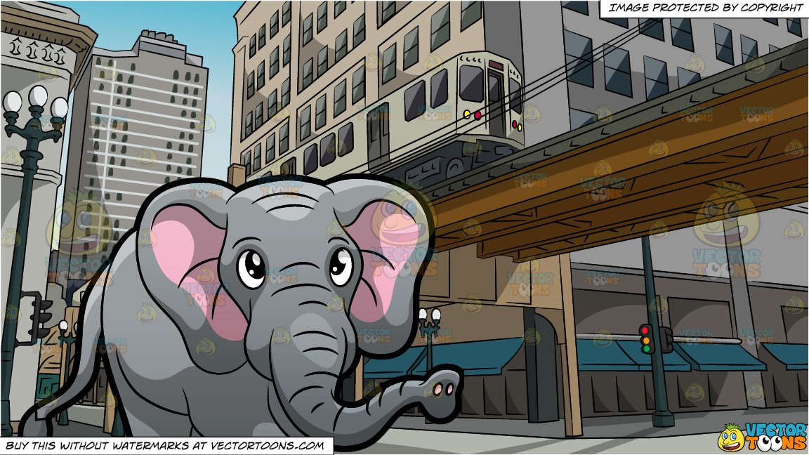 An Elephant Walking Around At The Zoo and Above Ground Subway Track  Background.