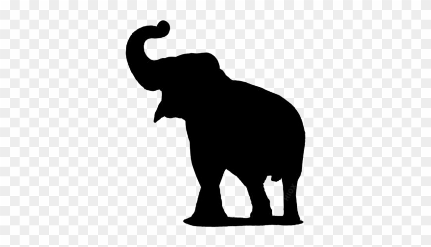 Transparent Elephant Trunk Up Silhouette Png.