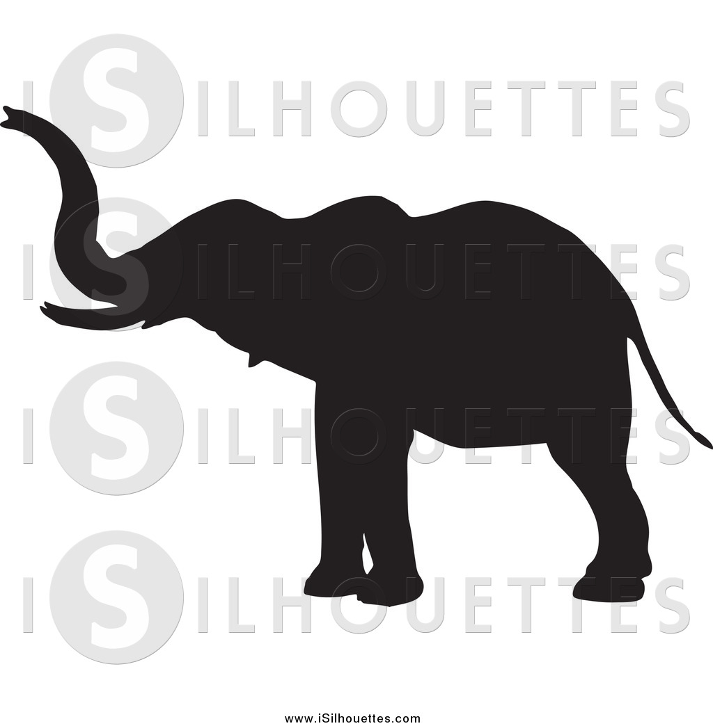 Clipart of a Silhouetted Black Elephant Extending His Trunk by KJ.