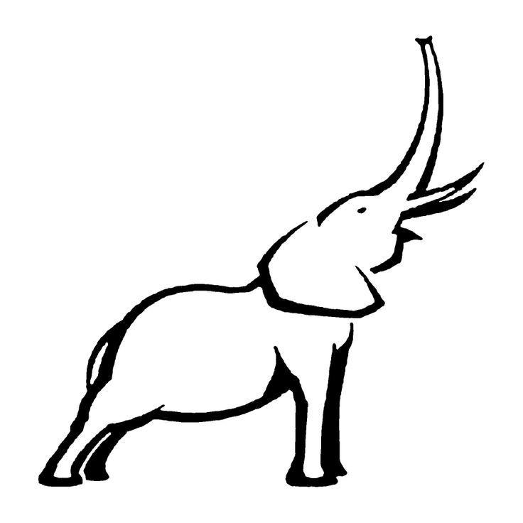 elephant outline trunk up.