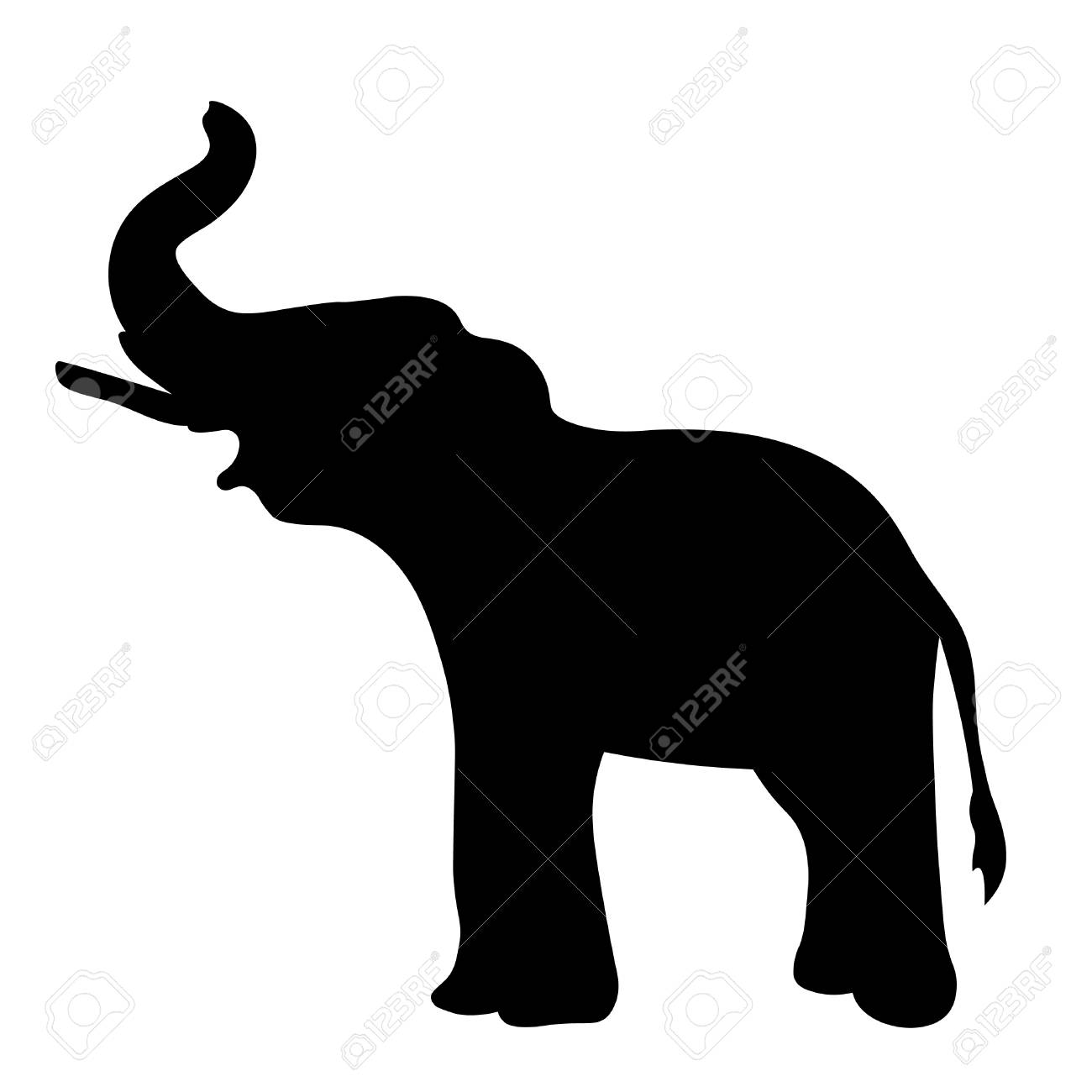 silhouette the elephant sideways up the trunk. vector illustration.