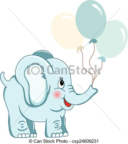 Elephant With Balloons Clipart.