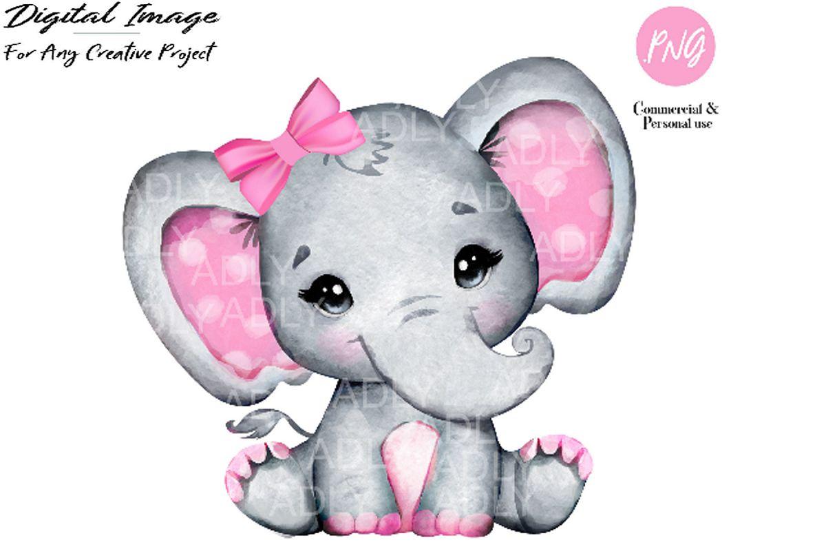 Watercolor girl elephant clip art, very cute little peanut.