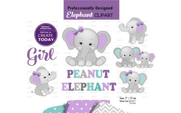 Peanut Elephant Mommy and Baby Clip Art.