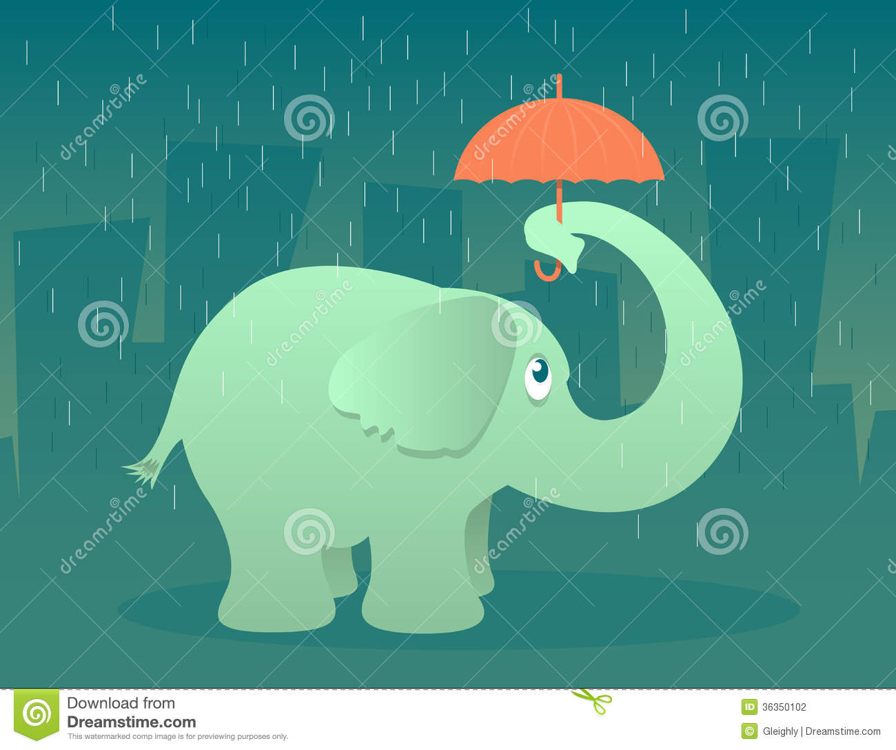 Elephant with Umbrella stock vector. Illustration of clipart.