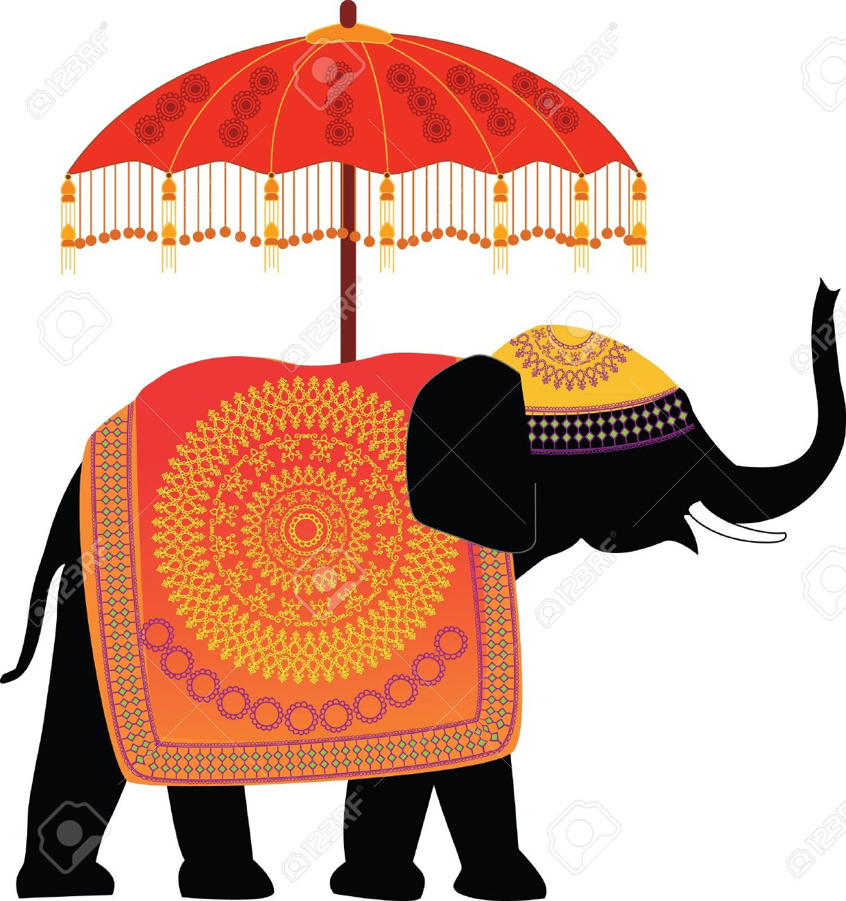 Decorated Indian Elephant with umbrella.