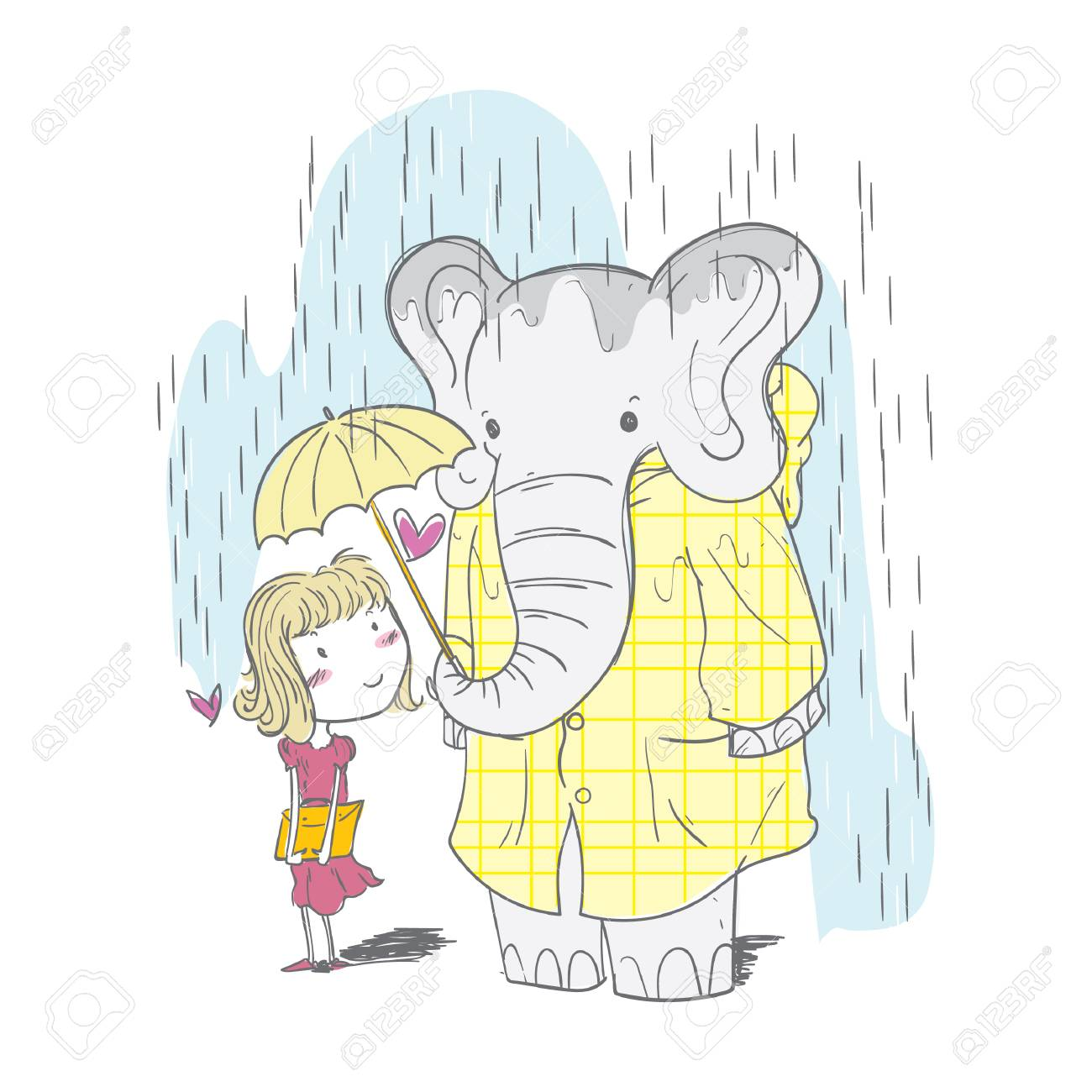 elephant sharing an umbrella with a girl.