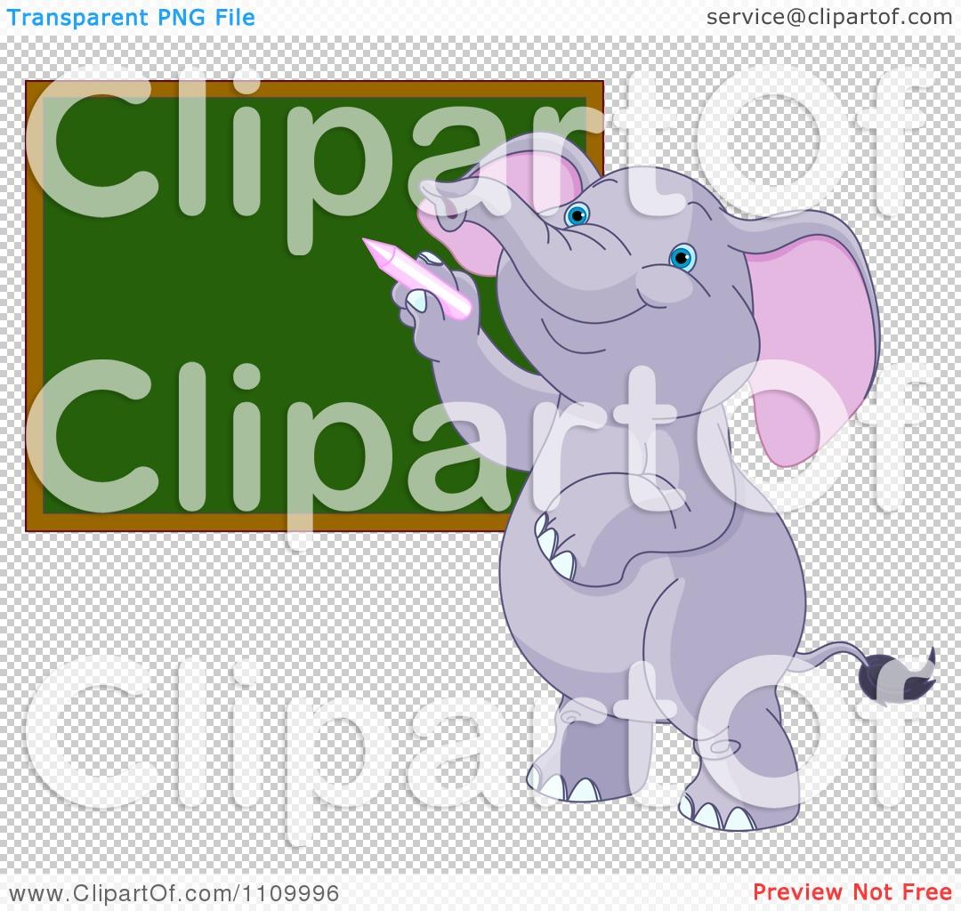 Clipart Cute Student Elephant Writing On A School Chalk Board.