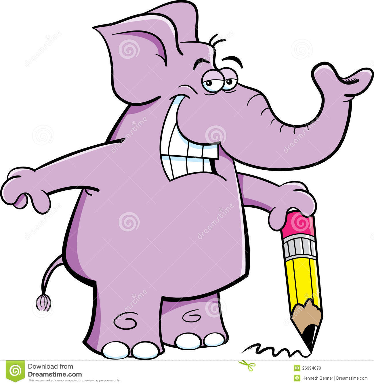 Elephant With A Pencil Royalty Free Stock Images.