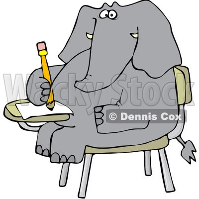 Elephant Writing Clipart.
