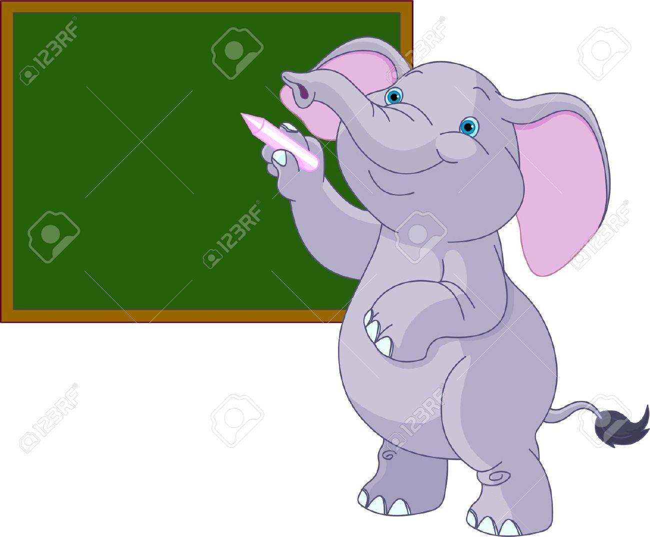 Cute Elephant Writing On Blackboard Royalty Free Cliparts, Vectors.