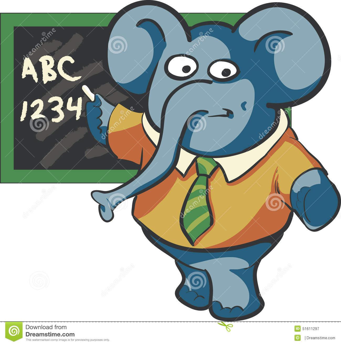 Teacher Elephant Stock Vector.