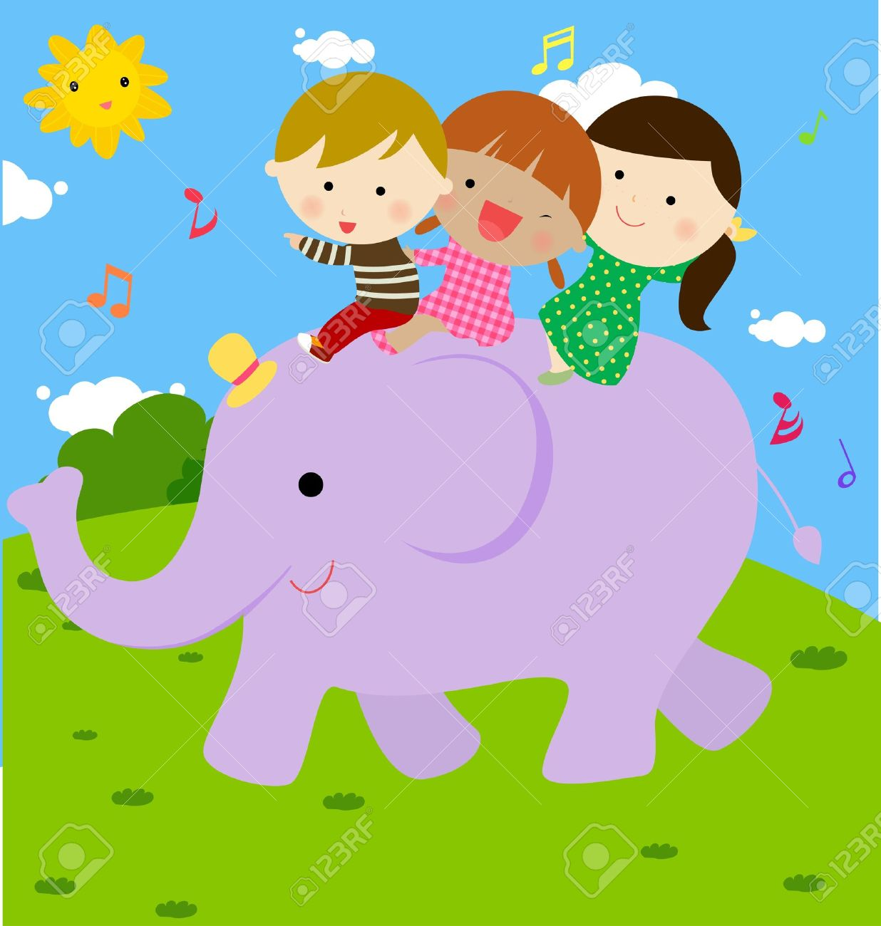 Children On Elephant Clipart.