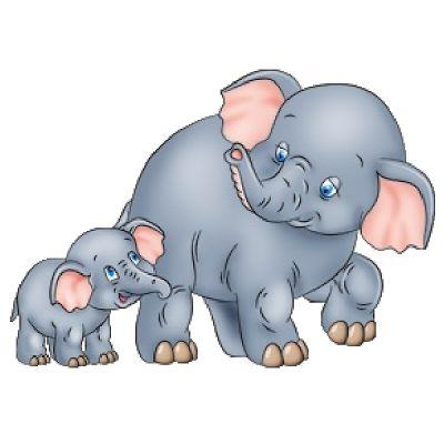 Cute Baby and Momma Elephant Clip Art.