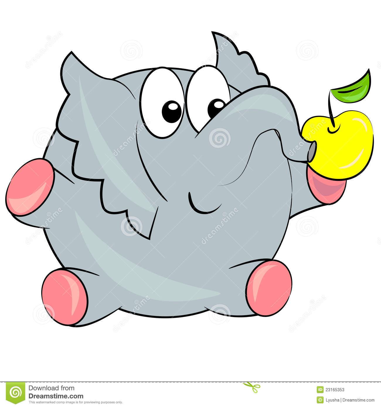 Elephant Eating Food Stock Illustrations.
