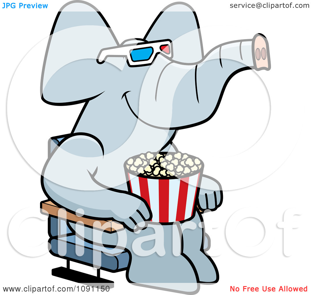 Clipart Elephant Eating Popcorn And Watching A 3d Movie At The.
