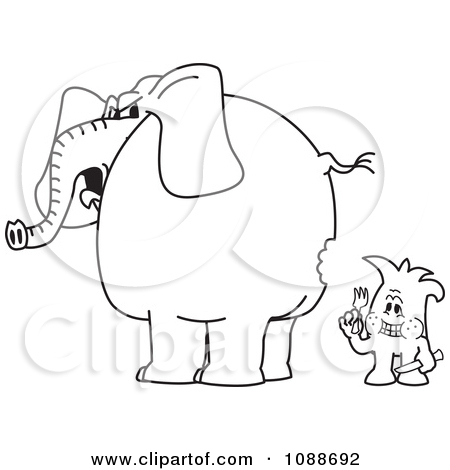 Clipart Squiggle Guy So Hungry Hes Eating An Elephant.