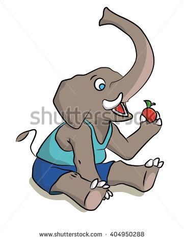 Elephants eating clipart #3