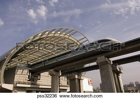 Stock Images of Magnet train on elevated track, Shanghai, China.