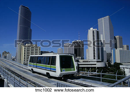 Stock Photo of A Metromover car, an automated peoplemover, moves.