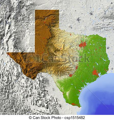 Clip Art of Texas, shaded relief map.