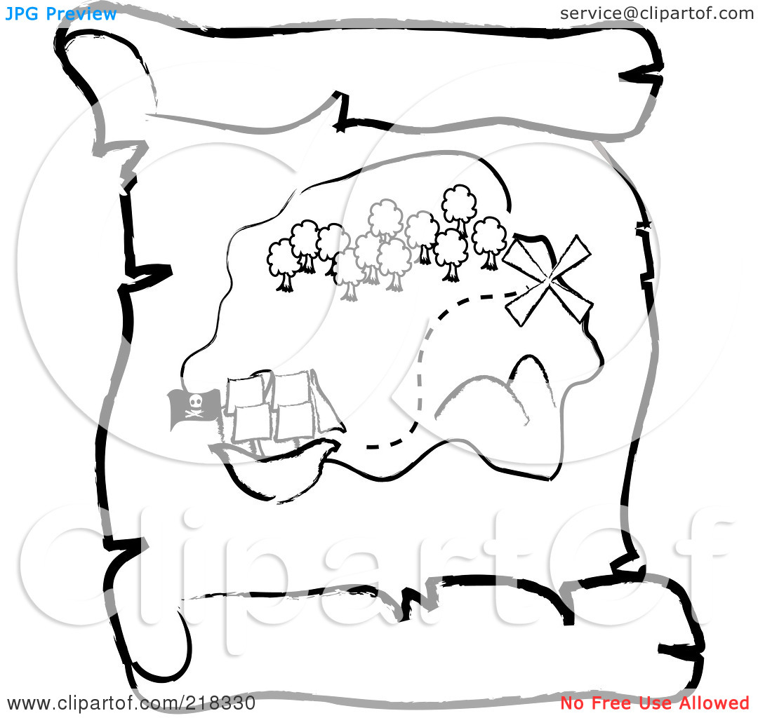 treasure map outline clipart #6