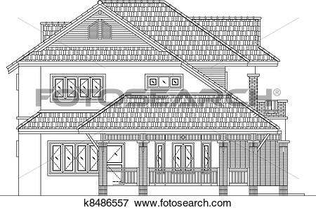 Clip Art of elevation house vector k8486557.