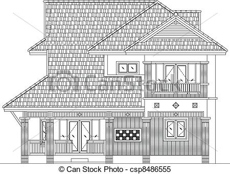 Vector Clip Art of elevation house vector.