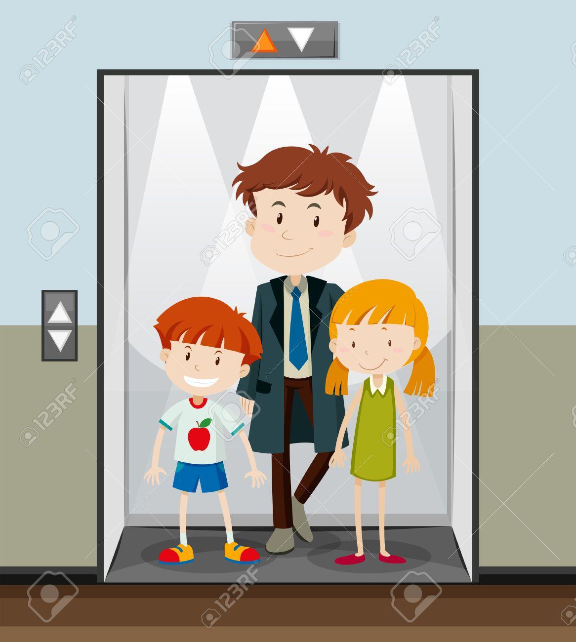 People using elevator going up illustration.